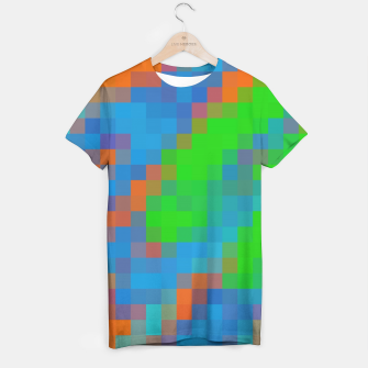 Miniatur pixel geometric square pattern abstract in green blue orange T-shirt, Live Heroes