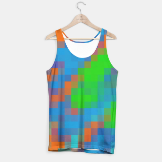 Thumbnail image of pixel geometric square pattern abstract in green blue orange Tank Top, Live Heroes