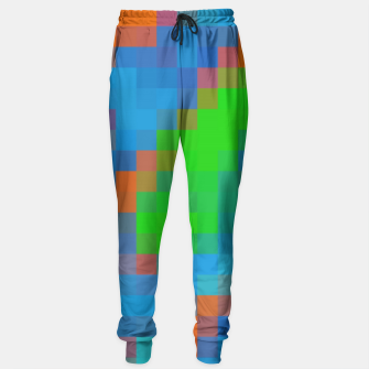 Thumbnail image of pixel geometric square pattern abstract in green blue orange Sweatpants, Live Heroes