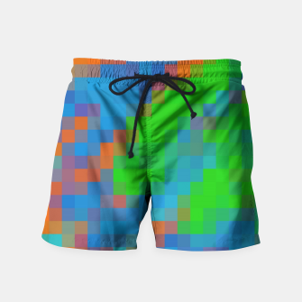 Thumbnail image of pixel geometric square pattern abstract in green blue orange Swim Shorts, Live Heroes