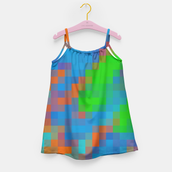 Thumbnail image of pixel geometric square pattern abstract in green blue orange Girl's Dress, Live Heroes