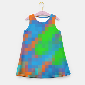Imagen en miniatura de pixel geometric square pattern abstract in green blue orange Girl's Summer Dress, Live Heroes