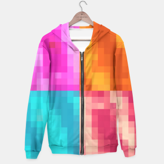 Thumbnail image of pixel geometric square pattern abstract in pink orange blue Hoodie, Live Heroes