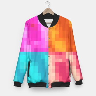 Thumbnail image of pixel geometric square pattern abstract in pink orange blue Baseball Jacket, Live Heroes