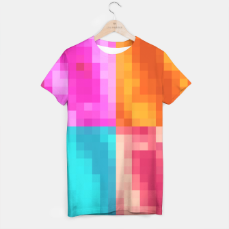 Miniatur pixel geometric square pattern abstract in pink orange blue T-shirt, Live Heroes