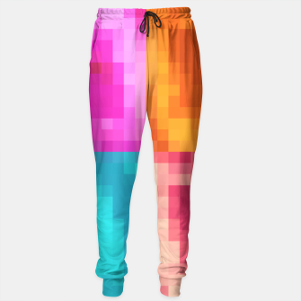 Thumbnail image of pixel geometric square pattern abstract in pink orange blue Sweatpants, Live Heroes