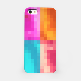 Thumbnail image of pixel geometric square pattern abstract in pink orange blue iPhone Case, Live Heroes