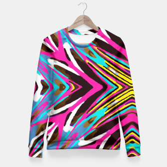 Imagen en miniatura de psychedelic geometric graffiti abstract pattern in pink blue yellow brown Fitted Waist Sweater, Live Heroes