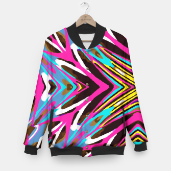 Thumbnail image of psychedelic geometric graffiti abstract pattern in pink blue yellow brown Baseball Jacket, Live Heroes