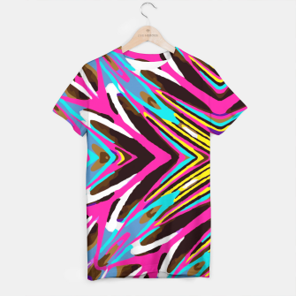 Miniatur psychedelic geometric graffiti abstract pattern in pink blue yellow brown T-shirt, Live Heroes