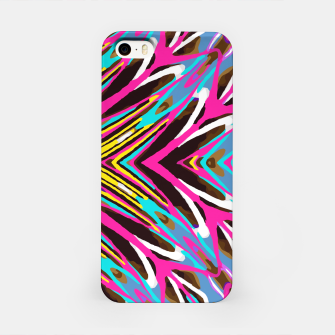 Imagen en miniatura de psychedelic geometric graffiti abstract pattern in pink blue yellow brown iPhone Case, Live Heroes