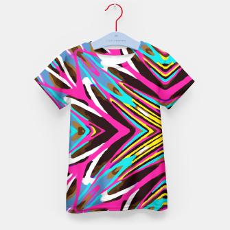 Imagen en miniatura de psychedelic geometric graffiti abstract pattern in pink blue yellow brown Kid's T-shirt, Live Heroes