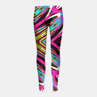Miniaturka psychedelic geometric graffiti abstract pattern in pink blue yellow brown Girl's Leggings, Live Heroes