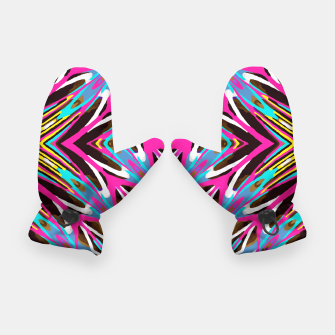 Thumbnail image of psychedelic geometric graffiti abstract pattern in pink blue yellow brown Gloves, Live Heroes