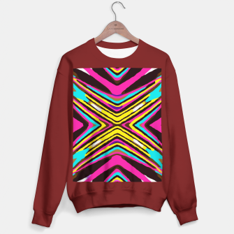 Miniaturka psychedelic geometric graffiti abstract pattern in pink blue yellow brown Sweater regular, Live Heroes