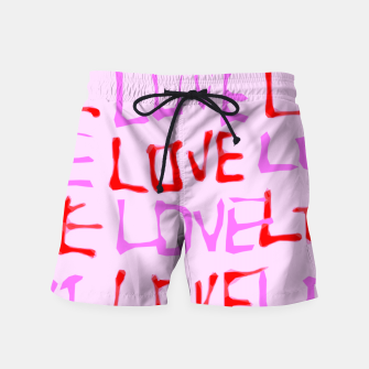 Thumbnail image of LOVE alphabet handwriting drawing in red and pink Swim Shorts, Live Heroes