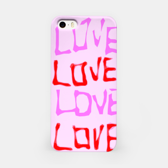 Thumbnail image of LOVE alphabet handwriting drawing in red and pink iPhone Case, Live Heroes