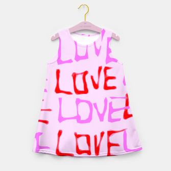 Imagen en miniatura de LOVE alphabet handwriting drawing in red and pink Girl's Summer Dress, Live Heroes