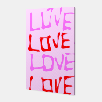 Thumbnail image of LOVE alphabet handwriting drawing in red and pink Canvas, Live Heroes
