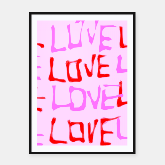 Imagen en miniatura de LOVE alphabet handwriting drawing in red and pink Framed poster, Live Heroes