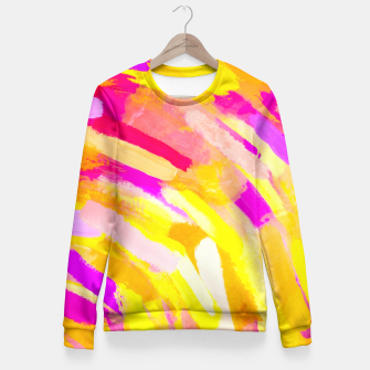 Imagen en miniatura de graffiti painting texture abstract in yellow pink purple Fitted Waist Sweater, Live Heroes