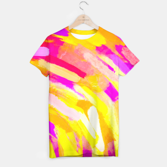 Miniatur graffiti painting texture abstract in yellow pink purple T-shirt, Live Heroes