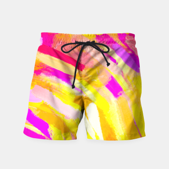 Thumbnail image of graffiti painting texture abstract in yellow pink purple Swim Shorts, Live Heroes
