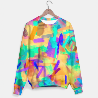 Thumbnail image of psychedelic splash painting abstract in orange purple green pink blue Sweater, Live Heroes