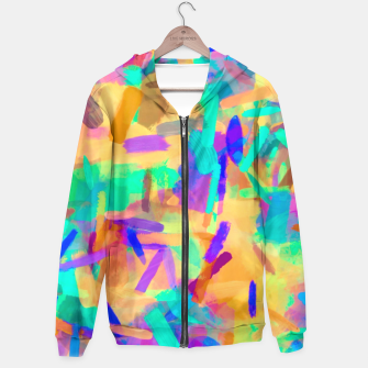 Thumbnail image of psychedelic splash painting abstract in orange purple green pink blue Hoodie, Live Heroes