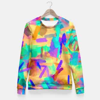 Miniaturka psychedelic splash painting abstract in orange purple green pink blue Fitted Waist Sweater, Live Heroes