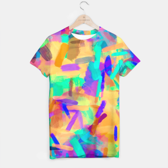Miniatur psychedelic splash painting abstract in orange purple green pink blue T-shirt, Live Heroes