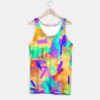 Thumbnail image of psychedelic splash painting abstract in orange purple green pink blue Tank Top, Live Heroes