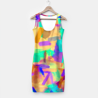 Miniaturka psychedelic splash painting abstract in orange purple green pink blue Simple Dress, Live Heroes