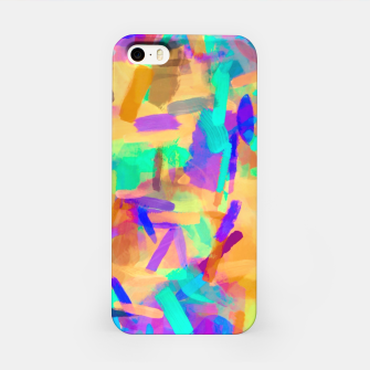 Thumbnail image of psychedelic splash painting abstract in orange purple green pink blue iPhone Case, Live Heroes