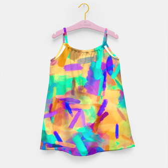 Thumbnail image of psychedelic splash painting abstract in orange purple green pink blue Girl's Dress, Live Heroes