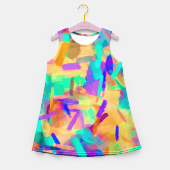 Imagen en miniatura de psychedelic splash painting abstract in orange purple green pink blue Girl's Summer Dress, Live Heroes