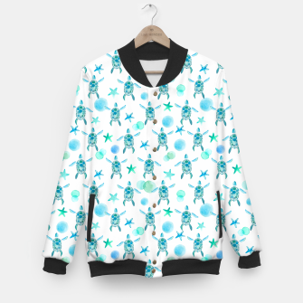 Thumbnail image of Turquoise Sea Turtles Pattern College-Jacke, Live Heroes