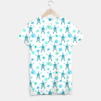 Miniatur Turquoise Sea Turtles Pattern T-Shirt, Live Heroes