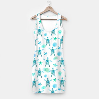 Miniaturka Turquoise Sea Turtles Pattern Kleid, Live Heroes