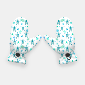 Thumbnail image of Turquoise Sea Turtles Pattern Handschuhe, Live Heroes