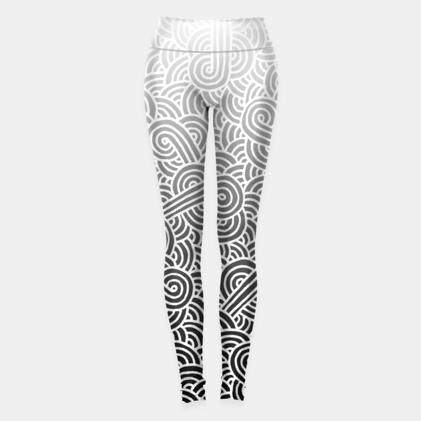 0620ba289137c3 Ombre black and white swirls doodles Athletic Leggings, Live Heroes