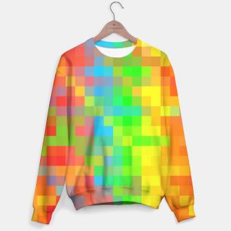 Thumbnail image of pixel geometric square pattern abstract in orange yellow blue green Sweater, Live Heroes