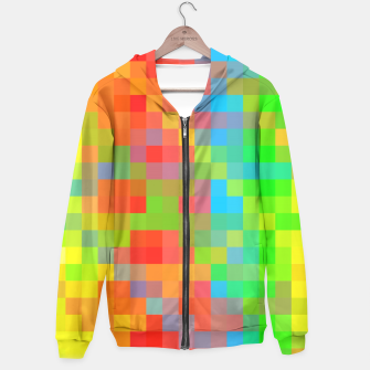 Thumbnail image of pixel geometric square pattern abstract in orange yellow blue green Hoodie, Live Heroes