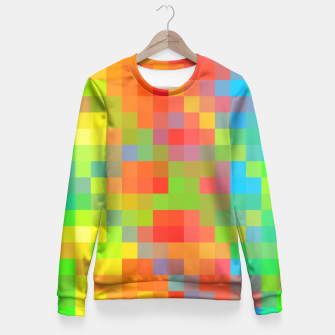Miniaturka pixel geometric square pattern abstract in orange yellow blue green Fitted Waist Sweater, Live Heroes