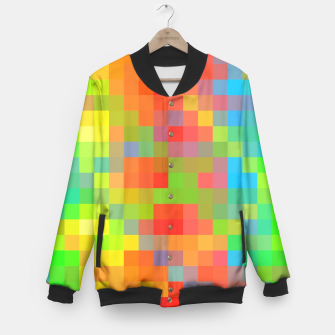 Thumbnail image of pixel geometric square pattern abstract in orange yellow blue green Baseball Jacket, Live Heroes