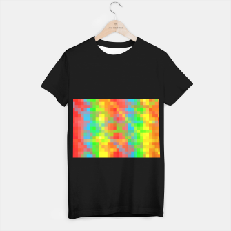 Miniaturka pixel geometric square pattern abstract in orange yellow blue green T-shirt regular, Live Heroes