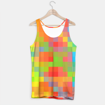 Thumbnail image of pixel geometric square pattern abstract in orange yellow blue green Tank Top, Live Heroes