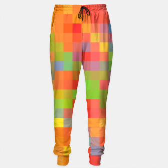 Thumbnail image of pixel geometric square pattern abstract in orange yellow blue green Sweatpants, Live Heroes