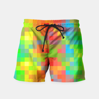 Miniaturka pixel geometric square pattern abstract in orange yellow blue green Swim Shorts, Live Heroes