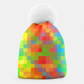 Imagen en miniatura de pixel geometric square pattern abstract in orange yellow blue green Beanie, Live Heroes